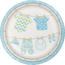 "Bundle of Joy Boy Blue 9"" Dinner Lunch Plates 8 Ct Baby Shower"