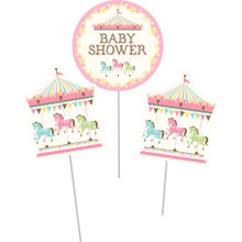 Carousel 3 Pc Centerpiece Sticks Horses Baby Shower
