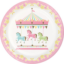 "Carousel Baby Shower 8 Ct 9"" Dinner Lunch Plates Boy or Girl"