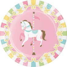 "Carousel Baby Shower 8 Ct 7"" Dessert Cake Plates Boy or Girl"
