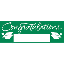 "Emerald Green 5' Giant Banner Graduation School Spirit ""Congratulations"""