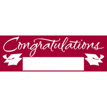 "Burgundy 5' Giant Banner Graduation School Spirit ""Congratulations"""