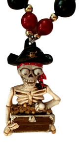 Pirate Skeleton Treasure Jolly Roger Flags Mardi Gras Bead Necklace