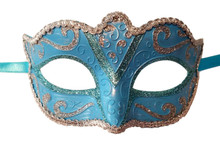 Light Blue Silver Small Teen Adult Ornate Masquerade Mardi Gras Mask