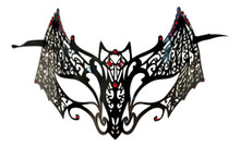 Black Bat Red Crystal Venetian Mask Masquerade Metal Filigree Halloween