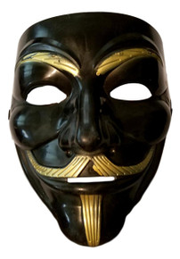 Black Gold Guy Fawkes Anonymous V for Vendetta Halloween Costume Mask