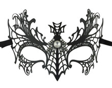 Black Crystal Spiderweb Cross Masquerade Metal Filigree Halloween Mask