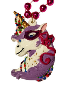Hot Pink Masked Unicorn Mardi Gras Bead Necklace