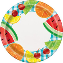 "Teal Gingham Picnic 8 Ct Paper 9"" Dinner Plates Fruit"