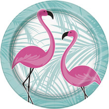 """Pink Flamingo 8 Ct Paper Lunch Dinner 9"""" Plates  Palm"""