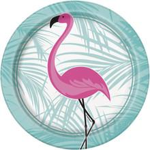 "Pink Flamingo 8 Ct Paper Dessert Cake 7"" Plates Palm"