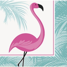 Pink Flamingo 16 Ct Paper Beverage Napkins Palm
