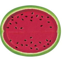 """Summer Watermelon 8 Ct Oval Buffet Platter Paper 10"""" x 12"""""""