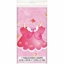 Pink Clothesline Girl 1 Ct Tablecover Plastic 54 x 84 Baby Shower