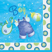 Blue Clothesline Boy 16 Ct Luncheon Napkins Baby Shower