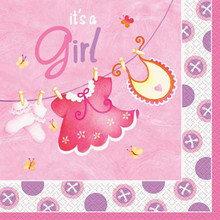Pink Clothesline Girl 16 Ct Luncheon Napkins Baby Shower