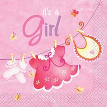 Pink Clothesline Girl 16 Ct Beverage Napkins Baby Shower