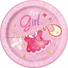 "Pink Clothesline Girl 8 Ct 7"" Dessert Cake Plates Baby Shower"