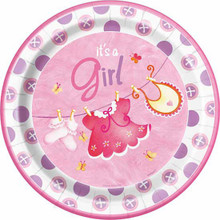 "Pink Clothesline Girl 8 Ct 9"" Dinner lunch Plates Baby Shower"
