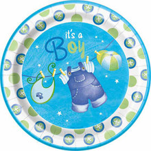 "Blue Clothesline Boy 8 Ct 9"" Dinner Lunch Plates Baby Shower"