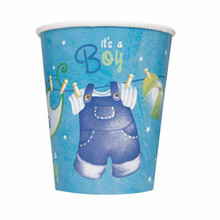 Blue Clothesline Boy 8 Ct 9 oz Paper Hot Cold Cups Baby Shower