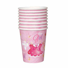 Pink Clothesline Girl 8 Ct 9 oz Paper Hot Cold Cups Baby Shower
