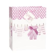 Baby Bow Pink Clothesline Girl Shower Gift Bag LG