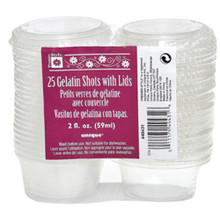 2 oz Gelatin Shot Glasses with Lids 25 Ct Plastic Clear Party Shots