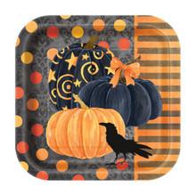 "Painted Pumpkin Raven Halloween Dessert Cake Plates 7"" 10 Ct Striped"