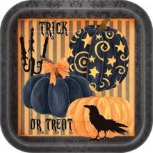 "Painted Pumpkin Raven Halloween Dinner Lunch Plates 9"" 8 Ct Striped"