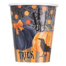 Painted Pumpkin Raven Halloween 9oz 8 Ct Paper Cups