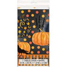 Painted Pumpkin Raven Halloween Tablecover Plastic 54 x 84