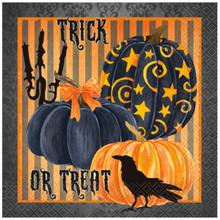 Painted Pumpkin Raven Halloween Lunch Napkins 16 Ct Striped
