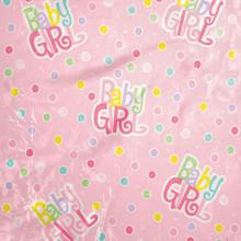 Jumbo Plastic Gift Bag Baby Shower Baby Girl Pink Dot w/Card 44 x 36
