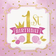 1st Birthday Pink Gold Girls 16 Ct Luncheon Napkins
