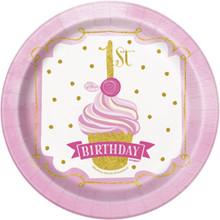 "1st Birthday Pink Gold Girls 8 Ct Dessert Cake 7"" Plates"