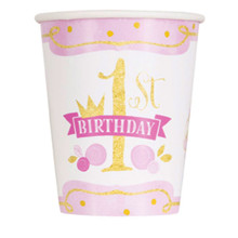 1st Birthday Pink Gold Girls 8 Ct 9 oz Hot Cold Cups Paper