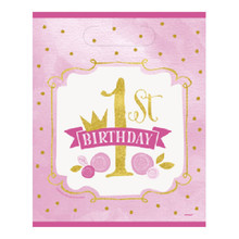 1st Birthday Pink Gold Girls 8 Ct Loot Favor Bags