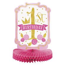 """1st Birthday Pink Gold Girls Centerpiece Honeycomb 14"""""""