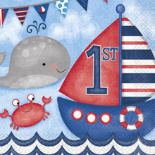 Nautical 1st Birthday 16 Ct Luncheon Napkins