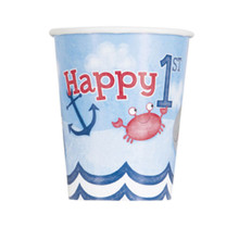 Nautical 1st Birthday 8 Ct Paper 9 oz Hot Cold Cups