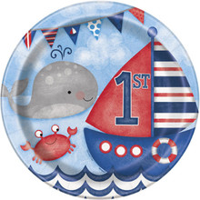 "Nautical 1st Birthday 8 Ct Lunch Dinner 9"" Plates"