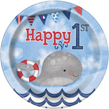 "Nautical 1st Birthday 8 Ct Dessert Cake 7"" Plates"