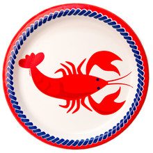 """Nautical Summer 8 Ct Dinner Lunch 9"""" Plates Lobster"""
