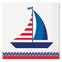 Nautical Summer 16 Ct Paper Beverage Napkins Sailboat
