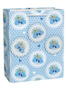 Baby Booties Blue Popout Shower Gift Bag LG Glitter Boy