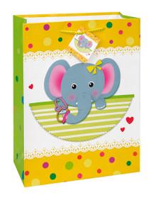 Baby Elephant Shower Gift Bag Jumbo Yellow 13 x 18