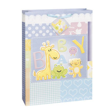 Baby Animals Shower Gift Bag Jumbo 13 x 18 Giraffe Tiger Pop Outs
