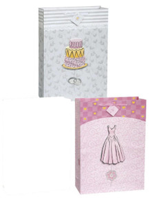 Fancy Wedding 2 Gift Bags pack Jumbo 13 x 18 Pink and Gray PopOut