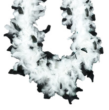 White with Black Tips 45 gm 6 ft Chandelle Feather Boa